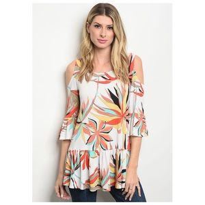 💥Clearance💥 Cold Shoulder Floral Printed Top